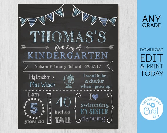 Back to School Sign, First/Last Day of School Sign, First day of School Chalkboard Editable school sign, Chalkboard Boy, Blue Sign, Corjl