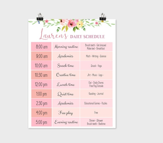 Editable Home School Daily Planner, Editable Daily Routine Schedule, Flowers Routine Schedule Chart, Daily Homeschool Planner, Corjl