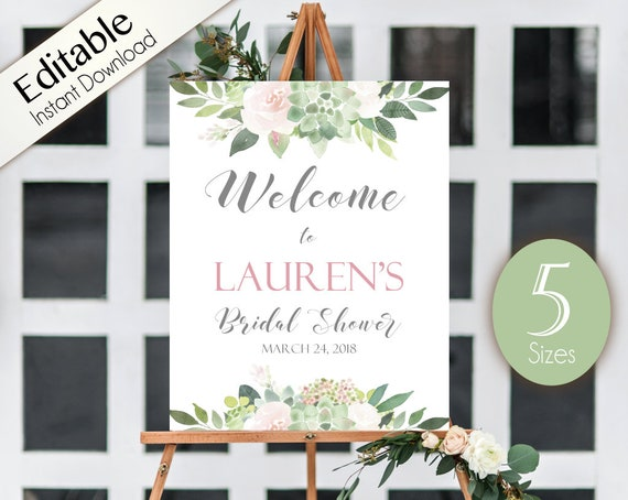Succulent Welcome Sign Bridal Shower, Template Bridal Shower, Editable PDF, Welcome Bridal Shower Sign Succulent Dusty Rose Flowers