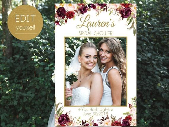 Bridal Shower Photo Booth Frame, Photo Prop Frame, Birthday Photo Booth Prop, Editable PDF, Marsala Burgundy Blush Floral Gold