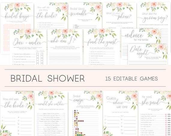 Bridal Shower Games, Bridal Shower Games Bundle, Romantic Blush Pink White Flowers, Editable Games, Wedding Shower Games