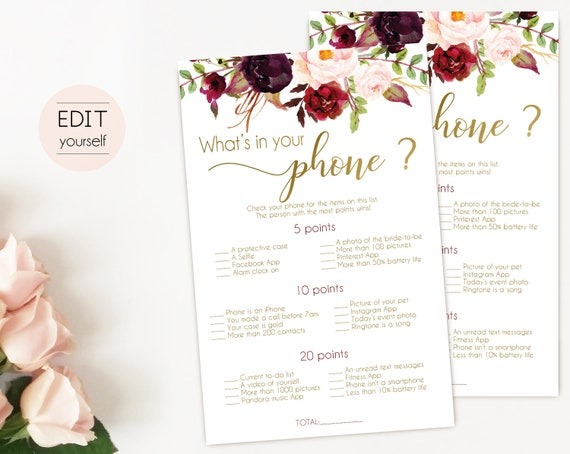 Bridal Shower game, Baby Shower Game, What's in your phone Editable PDF Bridal Shower, Marsala Burgundy Flowers Gold, Editable Game