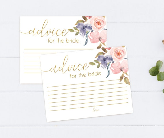 Advice Card Printable, Bridal Shower Advice Card, Advice for the bride and groom, Instant Download, Blush Pink Blue Niagara Flowers