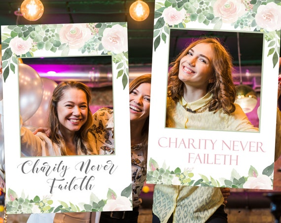 Relief Society Photo Booth Frame, Charity Never Faileth, Relief Society Birthday Party, Succulent Photo Prop Frame. Relief Society Activity