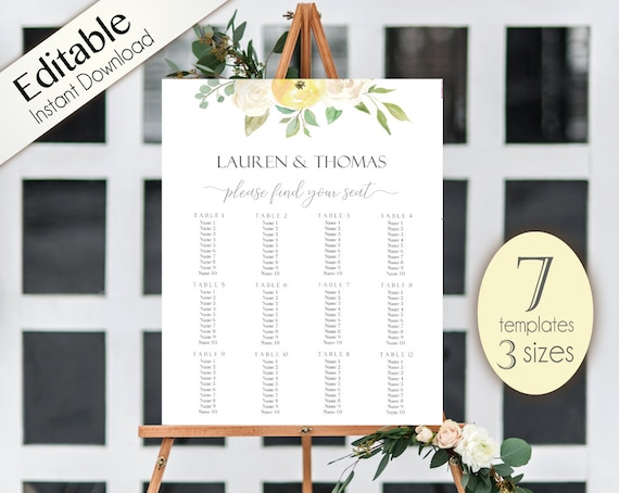 Wedding Seating Chart Template, 7 templates, Editable Wedding Table Seating Chart Poster Sign, PDF Instant Download, white yellow flowers