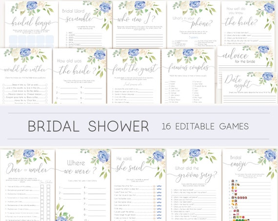 Bridal Shower Games, Bridal Shower Games Bundle, Romantic Blue and White Flowers, Editable Games, Wedding Shower Games, Blue Bridal Shower