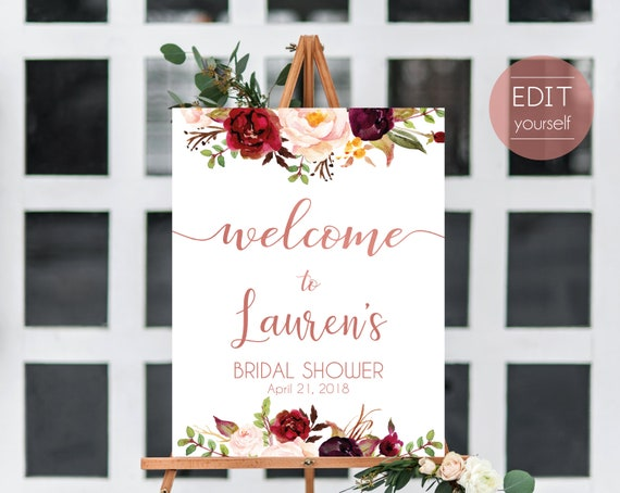 Welcome Sign Bridal Shower, Editable PDF ANY EVENT Bridal Baby Wedding Baptism Birthday Shower Sign, Marsala Burgundy Blush Floral Rose Gold