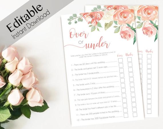 Bridal Shower Game Over or Under Editable PDF Bridal Shower Peach Watercolor Flowers, Editable Game, Over or Under Game