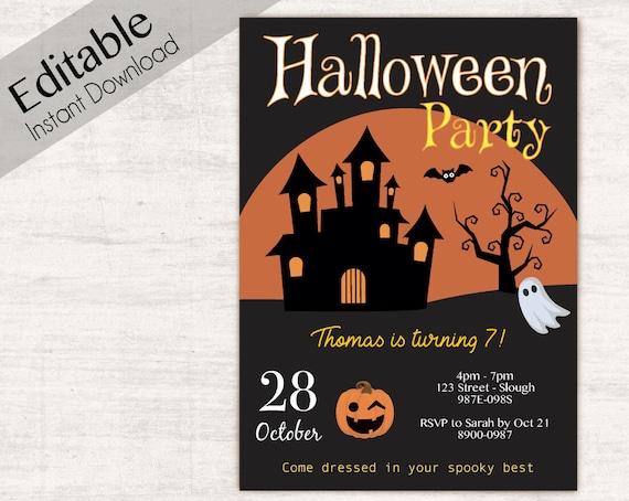 Editable Halloween Invitation, Halloween Birthday Invitation, INSTANT DOWNLOAD, Halloween Party Invitations, Halloween Birthday Invites