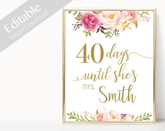 Bridal Shower Countdown Sign Printable, Editable PDF, Days Until She's Mrs, Bridal Shower Sign, Romantic Blooms Rose Floral Gold Sign,