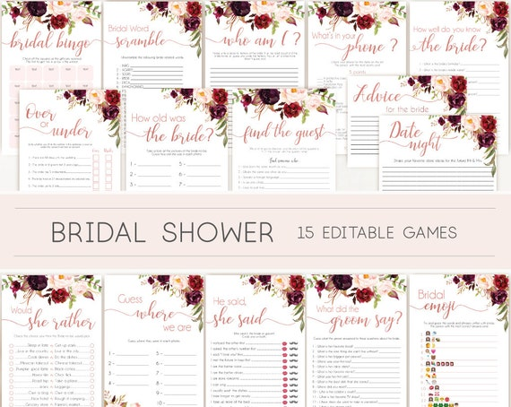 Bridal Shower Games, Bridal Shower Games Bundle, Bridal Shower Games Rose Gold, Editable Games, Marsala Burgundy Blush and Rose Gold