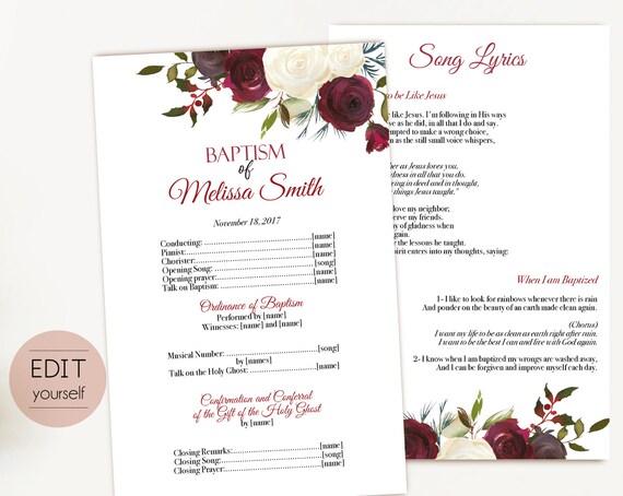 Baptism Program, Editable PDF, Printable Digital Handout Girl Baptism, red white roses, watercolor, Girl Baptism, Program Template