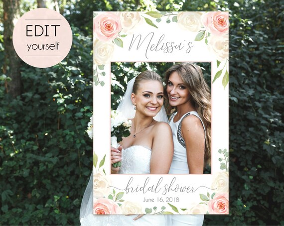 Bridal Shower Photo Booth Frame, Photo Prop Frame, Photo Booth Prop, Instant Download, Editable PDF, Romantic White Blush Pink Floral