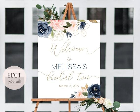 Welcome Sign Bridal Tea Template, Editable PDF, Editable Navy Gold Dusty Rose Floral Bridal Tea Welcome Sign, Printable Bridal Tea, BG01