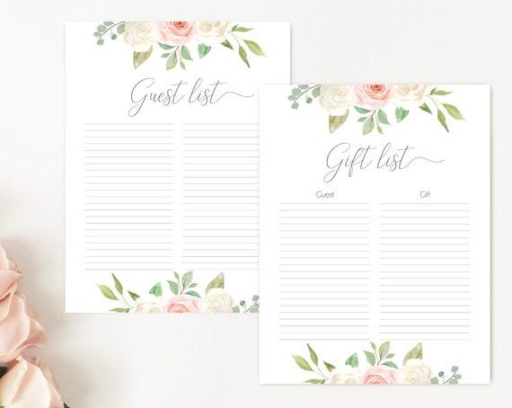 Guest List, Gift List, Baby Shower Gift List, Guest list printable, Gift Tracker,  Blush White Pink, Gift Checklist, Instant download