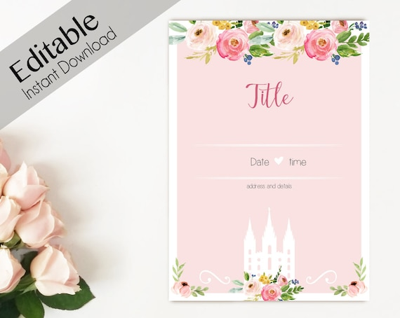 Activity Invitation, ANY EVENT, Editable PDF, lds Relief Society Digital Printable, Young Women Invitation, Temple invitation