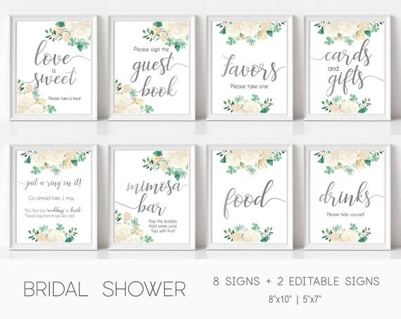 Bridal Shower Sign Set, Bridal Shower Sign Package Bundle, Printable Bridal Tea Sign, Teal silver white flowers, Editable Sign