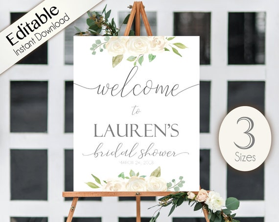 Welcome Sign Bridal Shower, Template Bridal Shower, Editable PDF, Welcome Bridal Shower Sign Romantic White Floral, Editable Sign