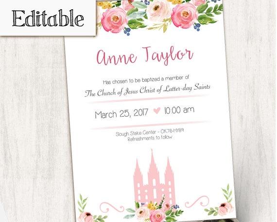 Baptism Invitation, Editable PDF,  Editable file, Instant Download, Girl Invitation flowers temple, LDS Baptism Invite, No Photo Needed