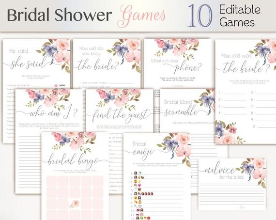 Bridal Shower Games Romantic Blush Pink Grey Niagara Flowers Editable Bridal Shower Games Package Set Bundle Clear Pink Floral Game Set,