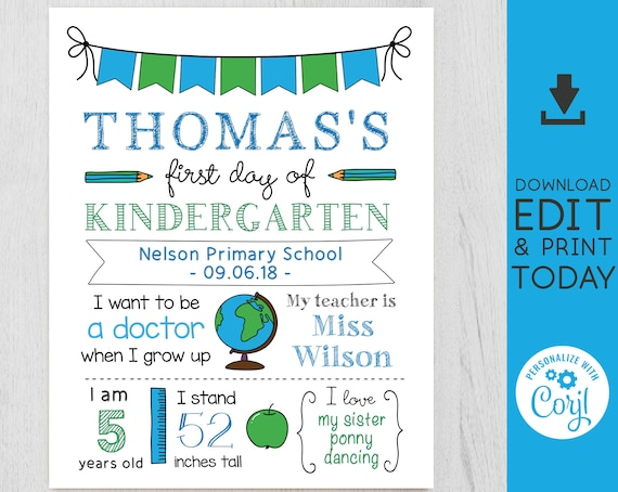 Back to School, First/Last Day of School Sign, Back to School Template, 1st day of school, Chalkboard Editable, Blue Sign, White, Corjl