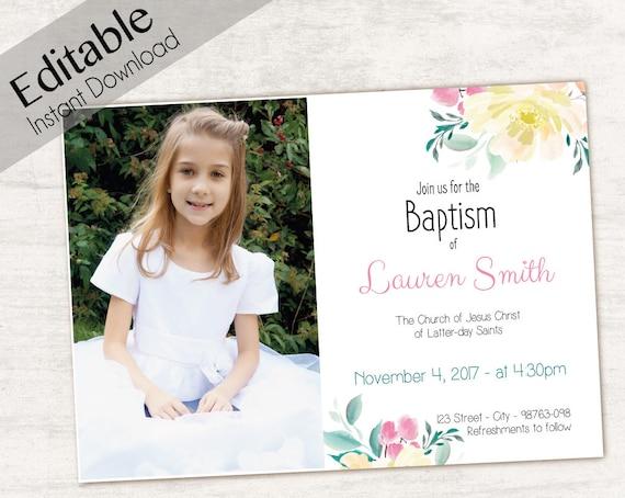 Baptism Invitation, Editable PDF, Girl Invitation pink watercolor, Baptism Invite, Photo, Girl Baptism announcements, Baptism Template