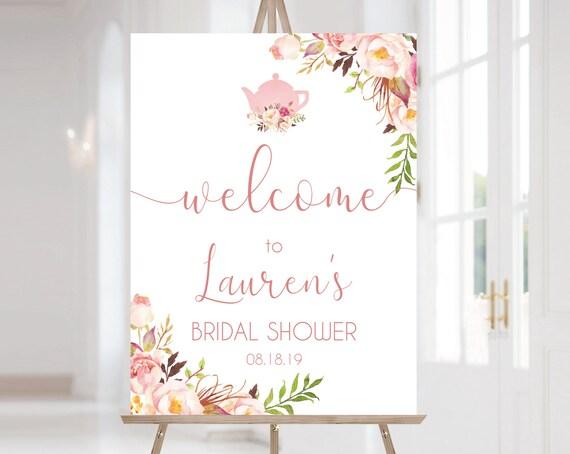 Welcome Sign Bridal Tea Template, ANY EVENT, Bridal Shower, Bridal Tea, Wedding Tea ,Birthday Tea Sign Romantic Rose Gold Floral, Corjl