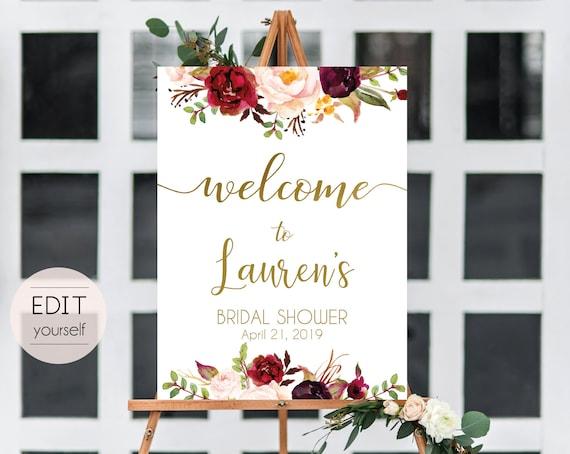 Welcome Sign Bridal Shower, Editable PDF ANY EVENT Bridal Baby Wedding Baptism Birthday Shower Sign, Marsala Burgundy Blush Floral Gold