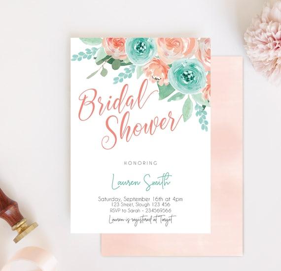 Bridal Shower Invitation Editable PDF, Bridal Shower Printable, Coral Turquoise Floral Bridal, DIY Bridal Invitation Template Peach Mint