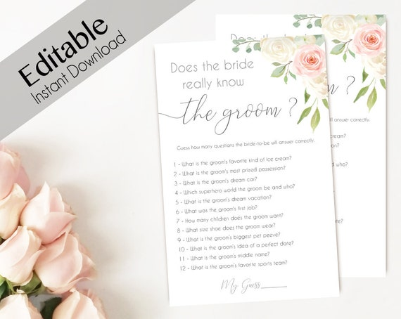 Bridal Shower Game Does the bride really know the groom Editable PDF Bridal Shower Romantic Blush Pink White Watercolor Flowers