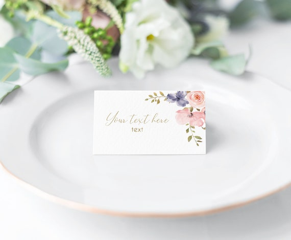 EDITABLE Place Cards, Bridal Shower Tent Cards, Dusty blue rose Floral Gold, Editable Place Card Bridal Shower, Wedding place card