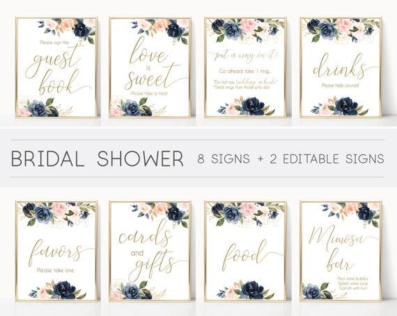 Bridal Shower Sign, Bridal Shower Sign Package Bundle, Printable Bridal Tea Sign, Navy Gold Rose Floral Bridal Shower Sign, BG01