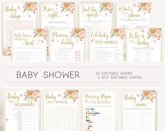 Baby Shower Games, floral butterfly, Editable Baby Shower Games Package Set Bundle, Editable games, Baby Shower Games Girl, Floral Game Set