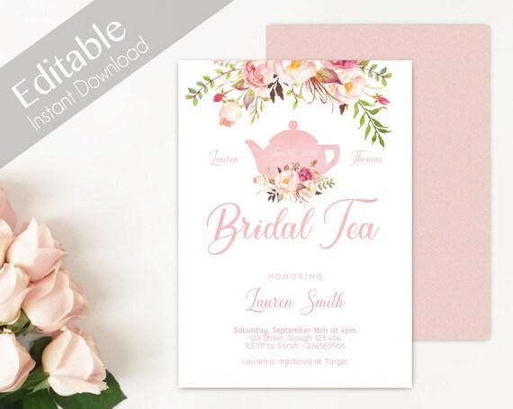 Bridal Tea Invitation Editable PDF, Bridal Shower Printable, Romantic Blush Pink Floral Bloom, DIY Bridal Tea Invitation Pink Tea pot