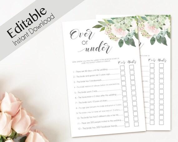 Bridal Shower Game Over or Under Editable PDF Bridal Shower Succulent Dusty Rose Watercolor Flowers Greenery, Editable Over or Under Game