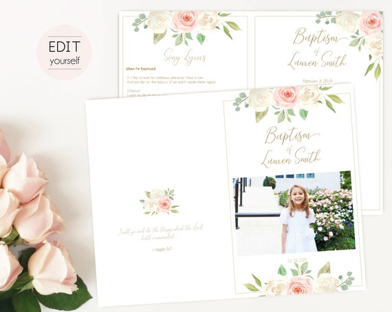 Baptism Program, Editable PDF, Printable Digital Handout Girl Baptism, white blush pink flowers, Girl Baptism, Baptism Program Template