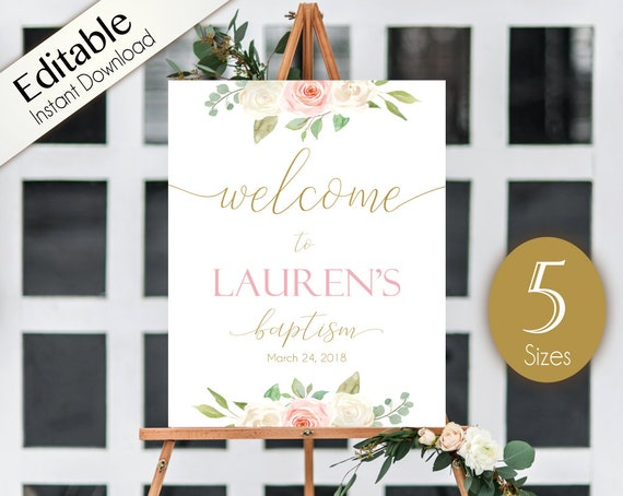 Welcome Sign Baptism, Template Baptism, Editable PDF, Welcome Baptism Sign Romantic White Blush Pink Floral Gold, Editable Sign