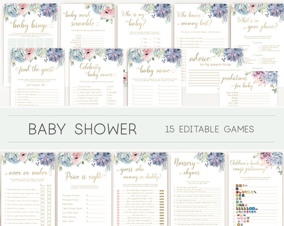 Baby Shower Games, Baby Shower Games Bundle, Succulents Lilac Pink Blue Gold, Editable games, Baby Shower, Succulents and Gold