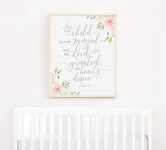 Nursery Decor For This Child, We Have Prayed Bible Verse Decor, Baby Shower Gift, Christian Art, 1 Samuel 1:27, Romantic Blush Pink White