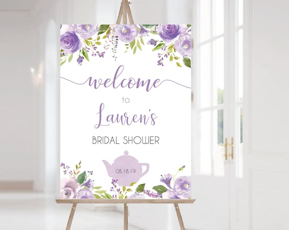Welcome Sign Bridal Shower Template, Editable Welcome Sign, Lavender Tea Pot, Bridal Tea Party Welcome Sign, Lilac Purple Floral, Corjl