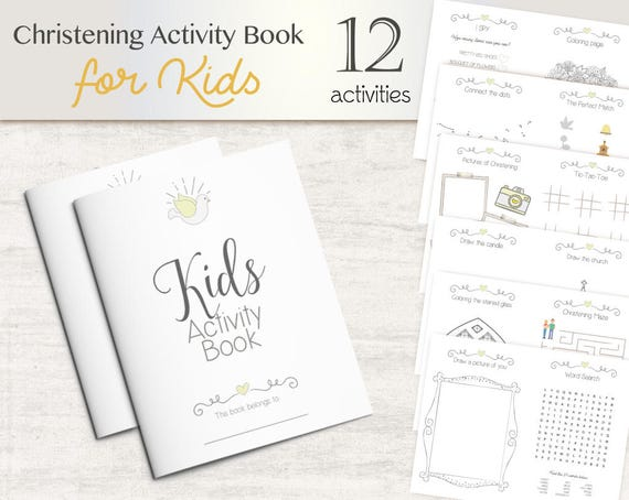 Kids Activity Pack Christening Children Activities Book, Book Kids Activity, Favor Kids Activity Book, Coloring Page, Instant Download
