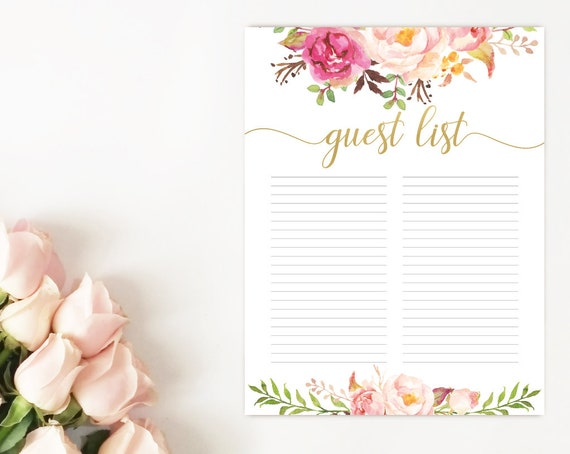 Guest List, Guest Sign, Guest list printable, Bridal Shower Baby Shower, Romantic Blush Pink Blooms Gold Watercolor Flowers