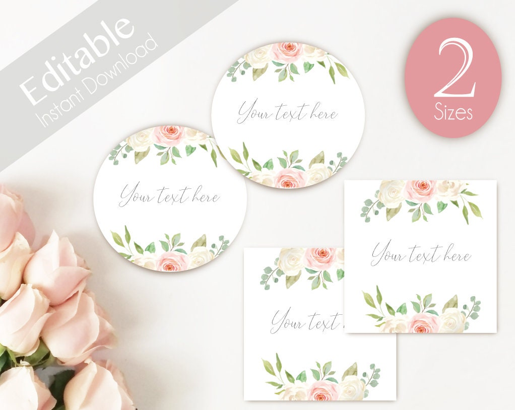 EDITABLE Label / Tag, Mimosa Bar Juice Tags, Editable Labels Bridal Shower  Decoration, Romantic Blush Pink White Flower, Avery 22830