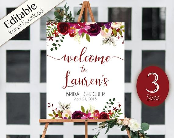 Welcome Sign Bridal Shower Template, Editable PDF ANY EVENT Bridal Baby Wedding Baptism Birthday Shower Sign Burgundy Boho Marsala Floral