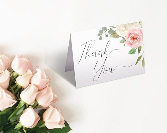 Thank you Card Bridal Shower, Bridal Shower Printable, Romantic Blush Pink White Floral, Thank You Card Bride Tea, Thank you Card folded