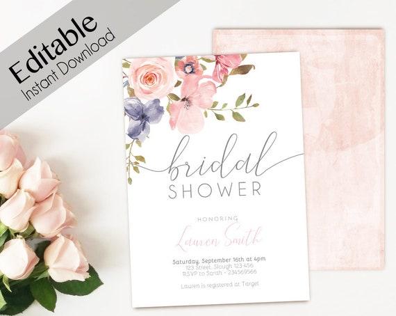 Bridal Shower Invitation Editable PDF, Bridal Shower Printable, Romantic Blush Pink Floral Bridal, DIY Bridal Invitation Template Clean