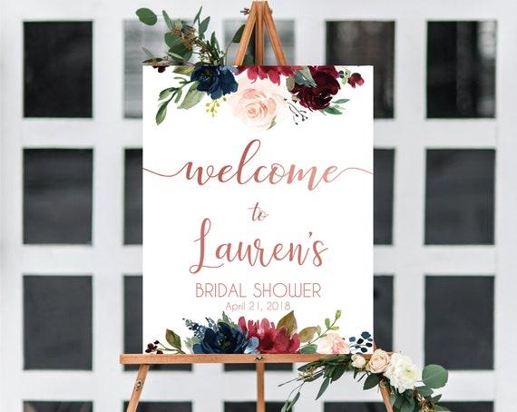 Welcome Sign Bridal Shower, Template Bridal Shower, Editable PDF, Welcome Sign Blue Navy Marsala Burgundy Blush Rose Gold Editable sign