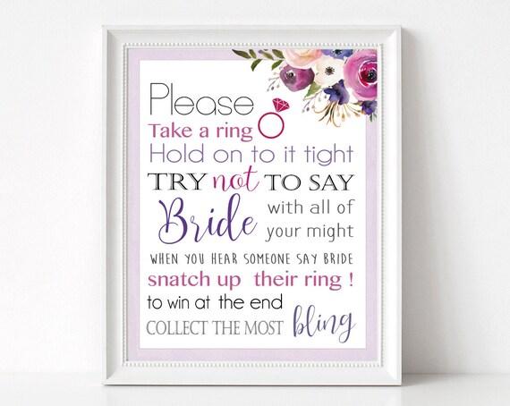 Bridal Shower Game, Don't Say Bride Take a Ring Bridal Shower Game, Printable, Instant Digital Download, Purple Lavender Flower Watercolor