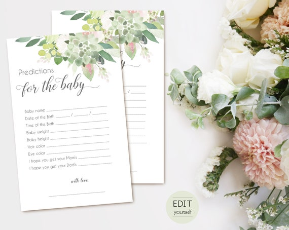 Editable Baby Predictions Card, predictions for baby printable, baby prediction game, baby shower, Greenery Succulent Dusty Rose