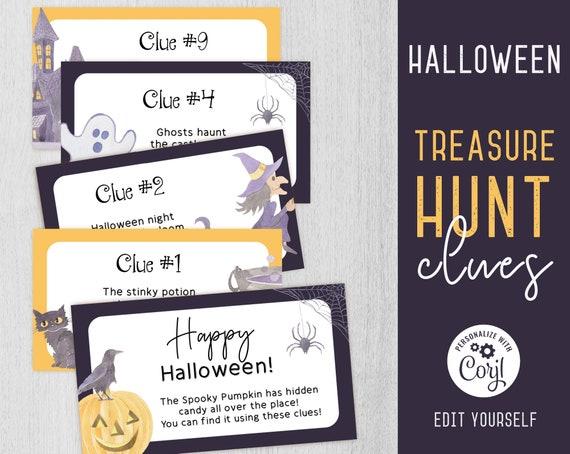 Halloween Treasure Hunt Clues, Editable Halloween Scavenger Hunt Clue Cards, Halloween Game Files, Printable Kids Treasure Hunt, Corjl